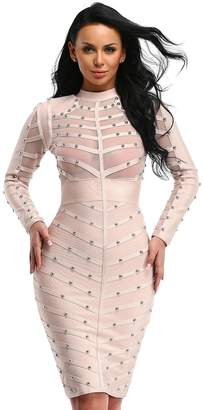Hego Women's Autumn Mesh Rivets Studded Long Sleeve Bandage Party Dress H1577(L, )