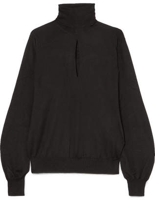 Tom Ford Cutout Cashmere And Silk-blend Turtleneck Sweater - Black