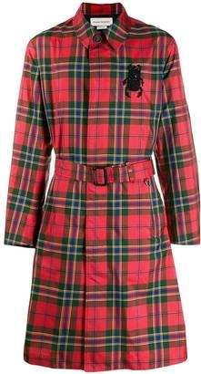Alexander McQueen tartan motif trench coat