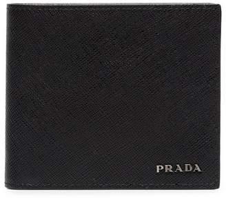 Prada black logo billfold leather wallet