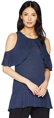 BCBGMAXAZRIA Women's Cold Shoulder Ruffle Overlay Top