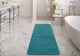 Ottomanson Luxury Collection Blue Runner Rug with Non-Slip/Rubber-Backing Bath Rug