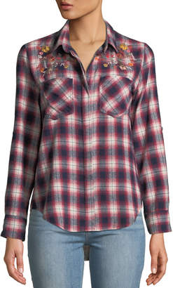 Velvet Heart Riley Floral-Embroidered Plaid Button-Down Blouse