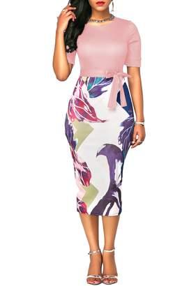 KISSMODA Women's Slim Fit Sheath Dress Floral Printed Business Dress