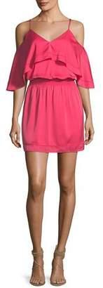 Trina Turk Colusa Cold-Shoulder Stretch Silk Ruffle Dress