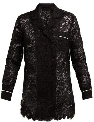 Dolce & Gabbana Floral Lace Piped Pyjama Top - Womens - Black