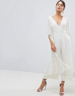 Asos Design DESIGN Premium Jumpsuit With Embroidery And Fringing