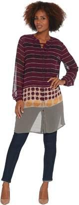 Susan Graver Printed Sheer Chiffon Button Front Duster & Knit Tank Set
