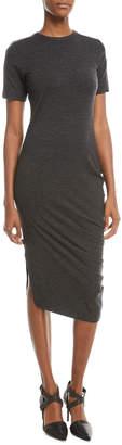 Short-Sleeve Jersey Monili-Shoulder Dress