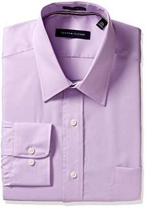 Tommy Hilfiger Men's Regular Fit Non Iron Solid Point Collar Dress Shirt