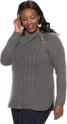 Croft & Barrow Plus Size Cable Knit Splitneck Sweater