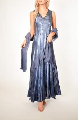 Komarov Beaded V-Neck Charmeuse & Chiffon Evening Dress with Wrap