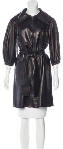 pradaPrada Leather Belted Coat