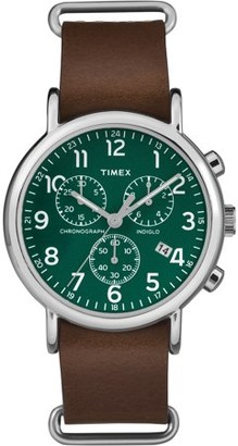 Timex Unisex Weekender Chrono Green Dial Watch, Brown Leather Slip-Thru Strap