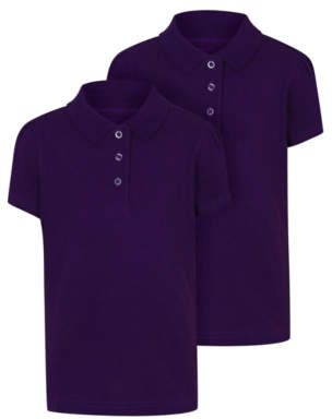 George Girls Purple Scallop School Polo Shirt 2 Pack