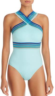 Kenneth Cole Ombré-Trim High Neck One Piece Swimsuit