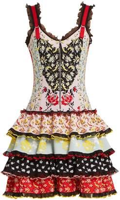 Alexander McQueen Floral-jacquard ruffle-trimmed knit dress