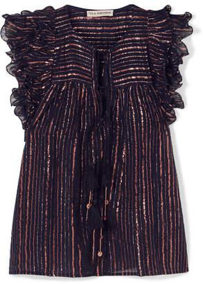 Ulla Johnson Cora Ruffled Striped Metallic Cotton-blend Voile Top - Midnight blue