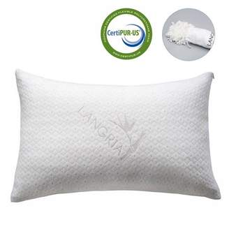 LOFT Bamboo Memory Foam Pillow - LANGRIA PREMIUM Adjustable Shredded Hypoallergenic Memory Foam Pillow, Washable Removable Cover, Viscoelastic Foam Filling Breathable Anti-Sweat, Queen