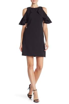 Vince Camuto Cold Shoulder Ruffle Sleeve Dress
