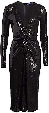 Ralph Lauren Women's Stellan Plunge-Front Sequin Dress