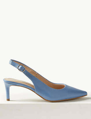 Marks and Spencer Leather Kitten Heel Slingback Shoes