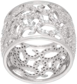 Italian Silver Sterling Crystal Scroll Design Band Ring