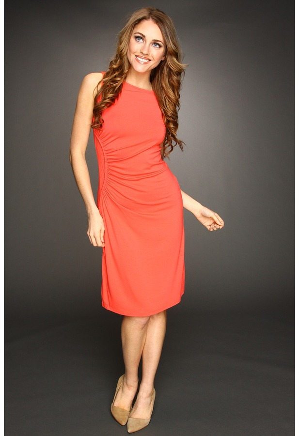 Tommy Bahama Tambour Ruched Side Dress (Bright Coral) - Apparel