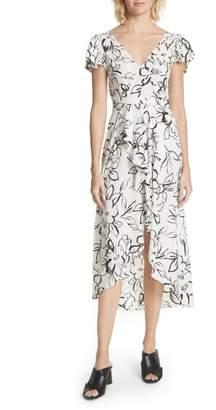 Tracy Reese Floral Stretch Silk Midi Dress