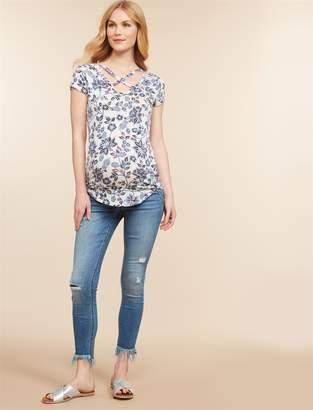 Jessica Simpson Motherhood Maternity Under Belly Skinny Leg Maternity Crop Jeans