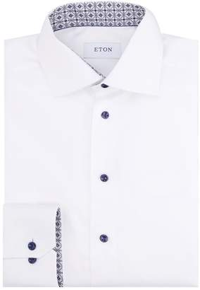 Eton Slim Fit Contrast Button Shirt