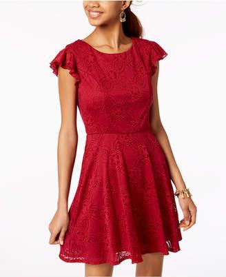 Trixxi Juniors' Lace Flutter Ruffle Dress