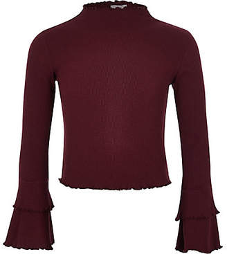 River Island Girls dark Red ribbed frill sleeve top