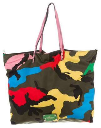 Valentino Reversible Camouflage Rockstud Tote