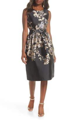 Donna Ricco Floral Jacquard Belted Dress