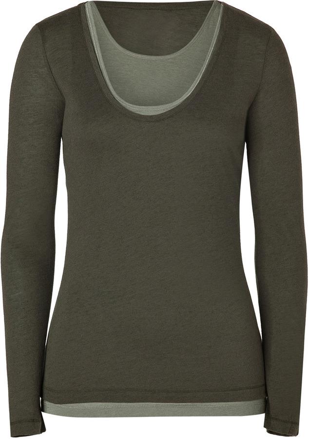 Majestic Military/Sage Double Long Sleeve Cotton-Cashmere T-Shirt