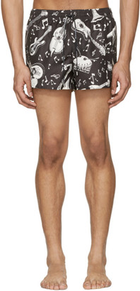 Dolce & Gabbana Black & White Instrument Swim Shorts $445 thestylecure.com