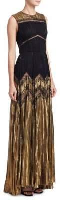 J. Mendel Pleated Metallic Silk Gown