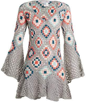 My beachy side My Beachy Side - Bisou V Neck Crochet Knit Cotton Mini Dress - Womens - Grey Multi