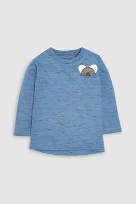 Next Boys Blue Long Sleeve Koala Pocket T-Shirt (3mths-6yrs)