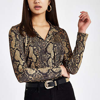 River Island Green snake print fitted bodysuit