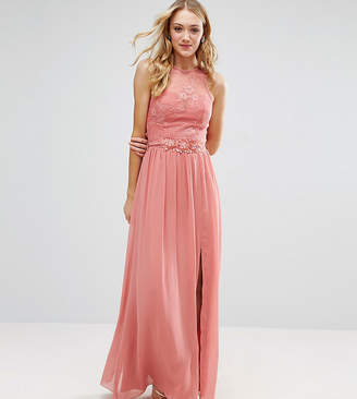 Little Mistress Tall Allover Lace Top Maxi Dress With Applique Belt Detail