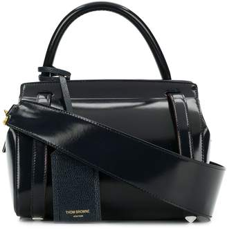 Thom Browne 3-Strap Small Navy Leather Bag