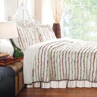 Greenland HOME FASHIONS Home Fashions Bella Ruffle Stripe Quilt Set