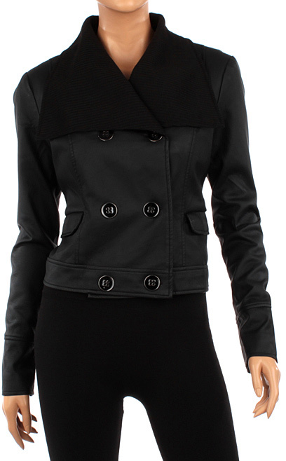 Black Double-Breasted Faux Leather Jacket