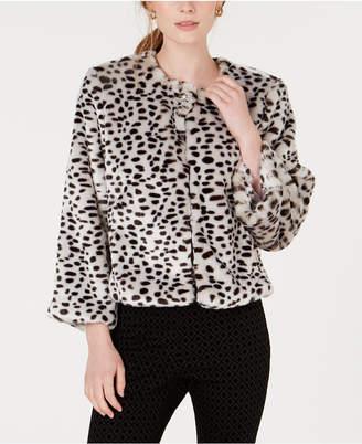Maison Jules Leopard-Print Faux-Fur Jacket