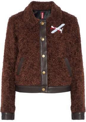 Staud Felix Leather-Trimmed Appliquéd Faux Shearling Jacket
