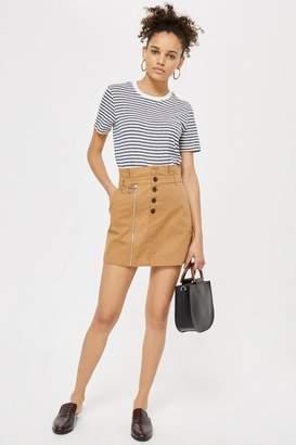 Topshop Utility button mini skirt