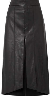 Isabel Marant Nehora Pleated Leather Midi Skirt - Black
