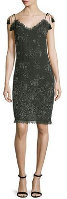 Tahari Remsen Metallic-Embroidered Dress, Camouflage $498 thestylecure.com